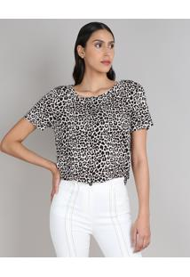 Blusa Feminina Ampla Estampada Animal Print Manga Curta Decote Redondo Off White