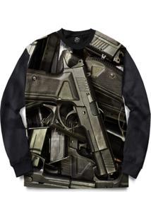 Blusa Bsc Pistols Full Print - Masculino-Preto