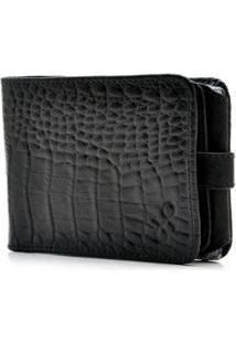 Carteira Couro Hendy Bag Com Porta-Cheque Capa Crocô Feminina - Feminino-Preto