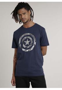 Camiseta Masculina Capitão América Manga Curta Gola Careca Azul Escuro
