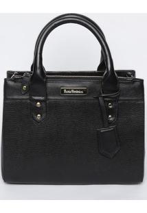 Bolsa Em Couro Com Bag Charm - Preta- 23X28X12,5Cmmv Couros