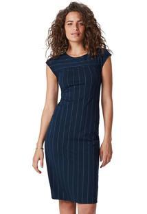 Vestido Azul Marinho Midi Risca De Giz