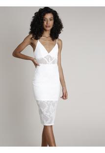 Vestido Feminino Midi Em Tule Com Bordado Alça Fina Off White