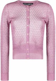 Dolce & Gabbana Cardigan Metálico De Crochê - Rosa
