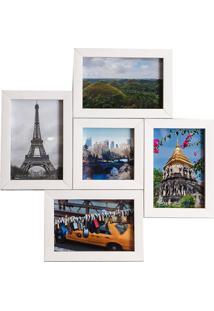 Porta Retrato Em Madeira Multifoto Branco 5 Fotos