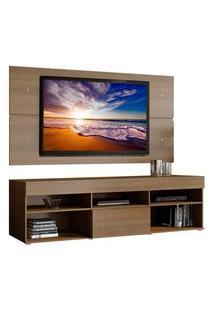 Rack Com Painel Para Tv Até 65 Polegadas Madesa Miami 1 Porta Marrom