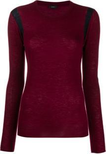 Joseph Side Stripe Knitted Top - Vermelho