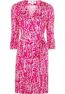 Dvf Diane Von Furstenberg Vestido Envelope De Seda Com Gola V - Rosa