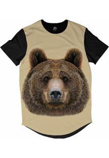 Camiseta Bsc Longline Cara De Urso Sublimada Preta Bege