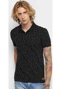 Camisa Polo Colcci Full Print Masculina - Masculino-Preto