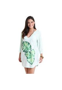 Vestido Gola V Laise Vitoria Verde - Verde Claro - Líquido