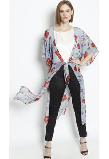 Kimono Floral Com Amarração - Azul & Vermelho- Linholinho Fino