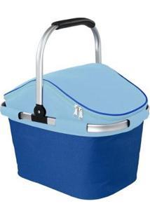 Cesta De Picnic Térmica Cooler Nautika Bistrô 28 Litros - Unissex-Azul+Preto