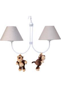Lustre 2L Simples Floresta Com 2 Macacos Quarto Bebê Infantil Potinho De Mel Bege - Kanui