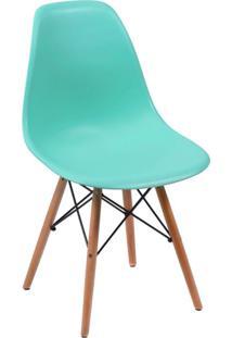 Cadeira Eames Base Madeira E Azul
