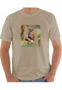 Camiseta Milá Fox Casual - Masculino-Bege