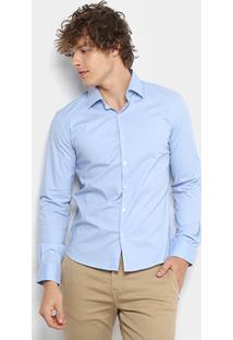 Camisa Ellus Tricoline Slim Manga Longa Masculina - Masculino-Azul