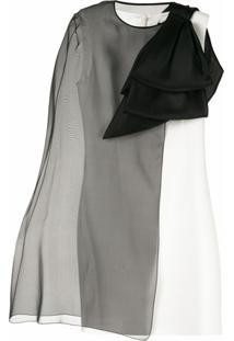 Paule Ka Vestido Com Sobreposição Translúcida - Branco
