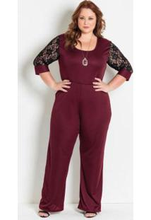 Macacão Bordô Com Renda Plus Size Marguerite