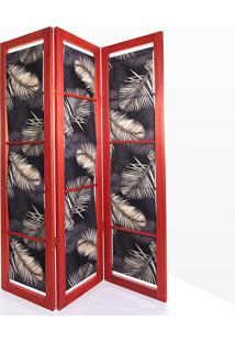 Biombo De Madeira Em Tecido Dominoes Stain Vermelho T03 - 150X3,5X179 Cm