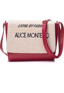 Bolsa Alice Monteiro Com Tampa Frase Vermelho