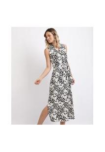 Vestido Feminino Midi Estampado De Folhagens Com Faixa Para Amarrar Preto