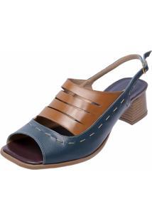 Sandália Salto Baixo Em Couro Miuzzi Azul Marinho - Kanui