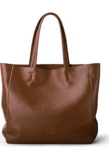 Bolsa Line Store Leather Sacola Shopper N2 Couro Marrom Escuro - Kanui