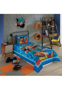 Colcha Matelassê Solteiro Lepper Dragon Ball 1 Peça Azul