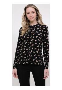 Camisa Em Jersey Com Repeticão De Icone Borboleta