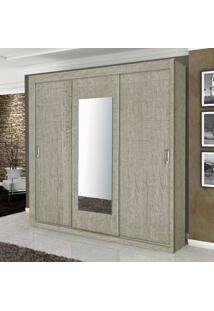 Guarda-Roupa Casal 3 Portas Correr Com Espelho Monte Carlo 100% Mdf Argila - Gabrielli Móveis
