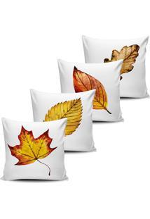Kit 4 Capas Almofadas Decorativas Folhas De Outono 45X45Cm - Tricae