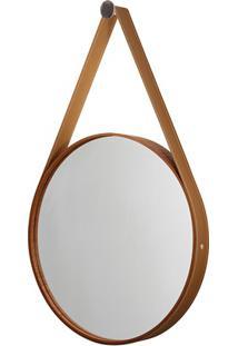 Espelho Redondo Com Moldura E Cinta De Couro 46Cm Mogno