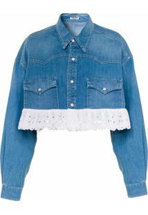 Miu Miu Jaqueta Jeans Cropped Com Bordado - Azul
