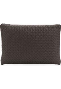 Bottega Veneta Billeto Clutch In Intrecciato Leather - Marrom