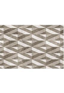 Tapete Geométrico- Marrom & Branco- 60X40Cm- Taptapetes Junior