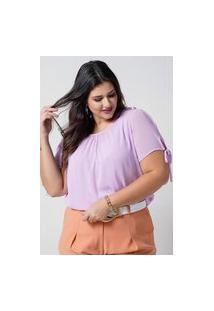 Blusa Preguinhas Almaria Plus Size New Umbi Com Regata Roxo
