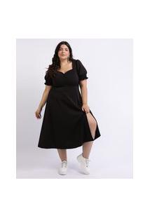 Vestido Feminino Mindset Plus Size Midi Com Fenda Decote Coração Manga Curta Bufante Preto