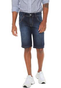 Bermuda Jeans Rock&Soda Reta Pespontos Azul