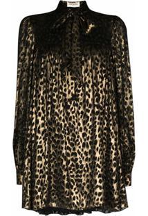 Saint Laurent Vestido Com Trama Metálica E Estampa De Leopardo - Preto