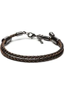 Pulseira Key Design Delvecchio Leather Brown Masculina - Masculino-Preto