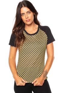 Camiseta Fiveblu Quadriculada Preta/Amarela