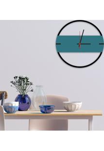 Relógio De Parede Decorativo Premium Slim Preto Ônix Com Detalhe Ágata Em Relevo Médio