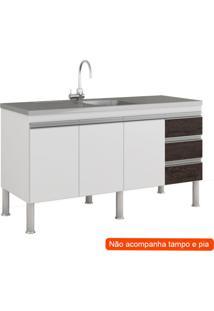 Balcão De Cozinha Ibiza 3 Pt 3 Gv Branco E Café