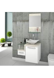 Conjunto Para Banheiro Gabinete Com Cuba De Apoio Folha L34 E Espelheira Legno 631W Branco/Snow