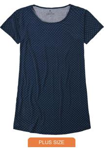 Camisola Azul Marinho Plus Size Poá