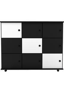Nicho Multiuso Organizador Com Rodízios Amã 9 Portas Preto/Preto/Branco - Mpozenato