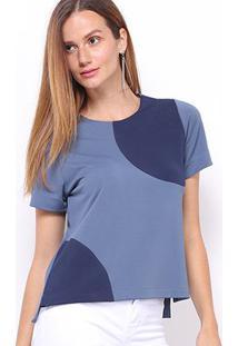 Blusa Maria Filó Bicolor Feminina - Feminino-Azul