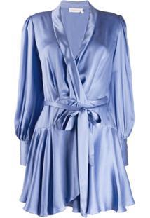 Zimmermann Vestido Envelope De Cetim - Azul