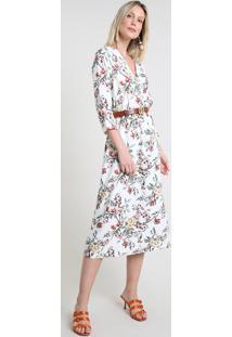 Vestido Feminino Midi Estampado Floral Manga Longa Branco